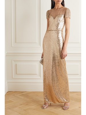 Jenny Packham delphine embellished sequined tulle gown