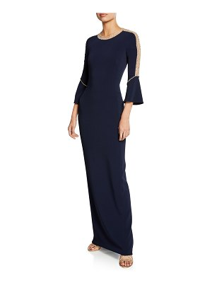 Jenny Packham Dian Long Bell-Sleeve Gown