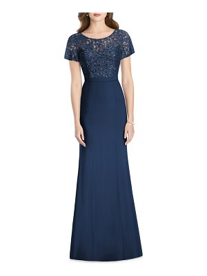 Jenny Packham embellished lace trumpet gown