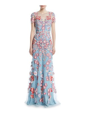 Jenny Packham Floral-Embroidered Short-Sleeve Evening Gown