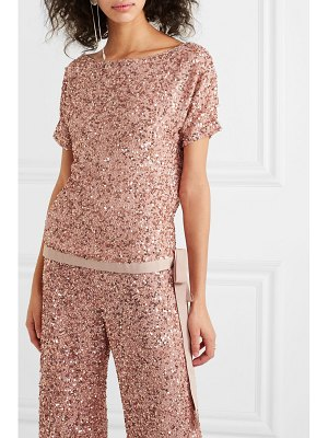 Jenny Packham grosgrain-trimmed sequined chiffon top