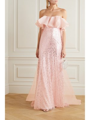 Jenny Packham marguerite strapless ruffled organza and sequin-embellished tulle gown