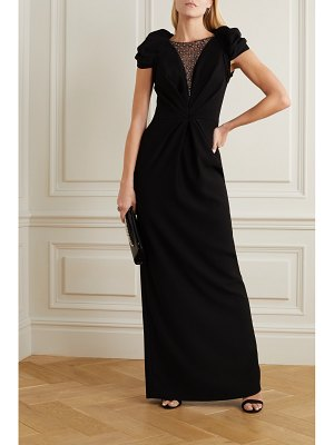 Jenny Packham noe embellished tulle and crepe gown