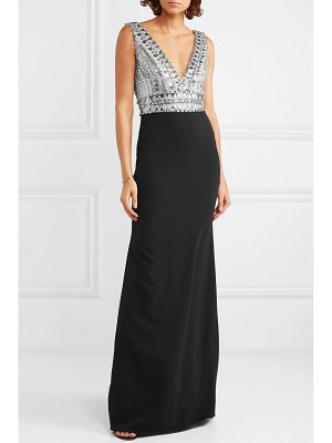 Jenny Packham scotia crystal-embellished tulle and cady gown