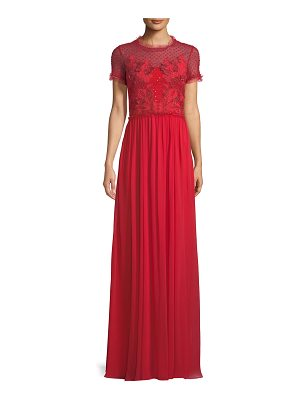 Jenny Packham Short-Sleeve Round-Neck Lace & Sequin Top Evening Gown