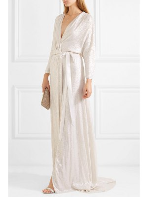 Jenny Packham sophia satin-trimmed sequined silk wrap gown