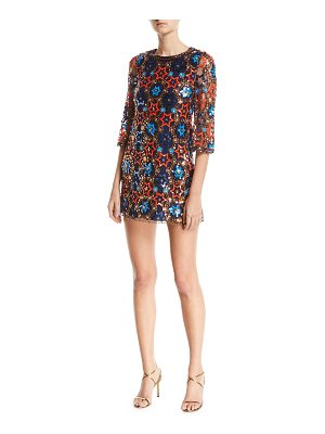 Jenny Packham Star-Sequin Embroidered Elbow-Sleeve Shift Cocktail Dress