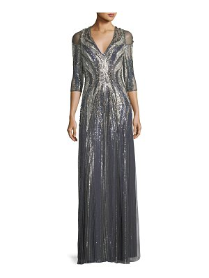 Jenny Packham V-Neck Half-Sleeve Beaded and Lace Column Gown