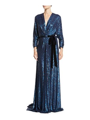 Jenny Packham V-Neck Long-Sleeve Tie-Front Allover Sequin Evening Gown