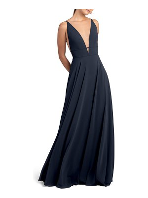 Jenny Yoo plunge neck chiffon a-line gown