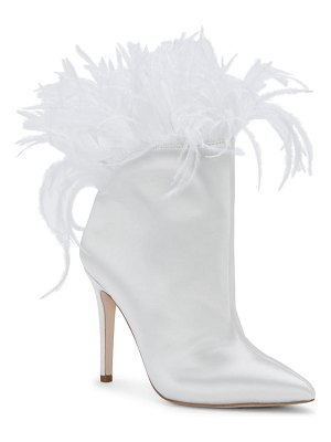 Jessica Simpson prixey feather trim pointed toe bootie