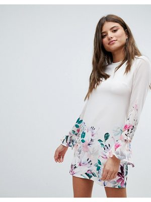 Jessica Wright Long Sleeve Shift Dress In Floral Border Print