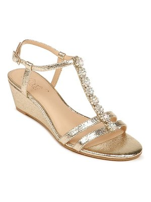 JEWEL BADGLEY MISCHKA farah crystal embellished wedge sandal