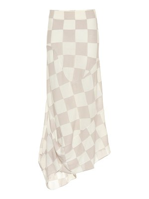 Jil Sander checked wool and cotton skirt