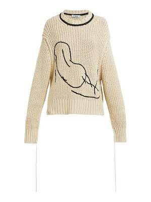 Jil Sander embroidered loose knit cotton sweater