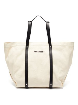 Jil Sander logo-print canvas and leather backpack tote