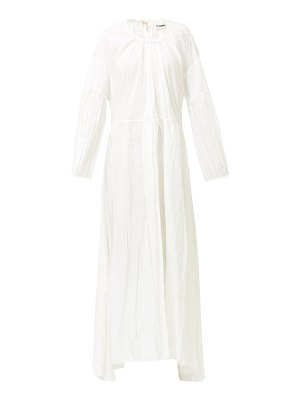 Jil Sander nanashi drawstring creased voile maxi dress