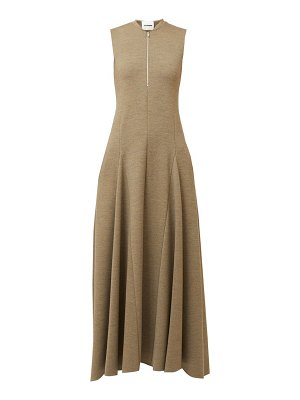 Jil Sander nicole godet-panel zip-front wool midi dress