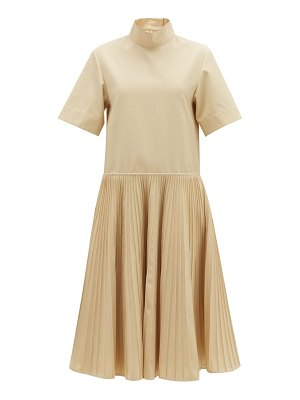Jil Sander pleated-skirt cotton-blend dress