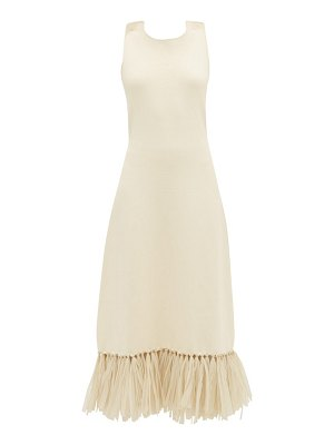 Jil Sander raffia-fringe knitted dress