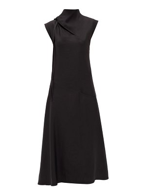 Jil Sander tie-neck charmeuse midi dress