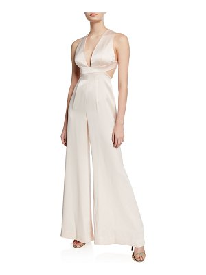 Jill Jill Stuart Plunge-Neck Open-Back Wide-Leg Satin Jumpsuit