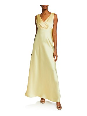 Jill Jill Stuart V-Neck Sleeveless Open-Back Satin Gown