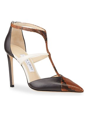 Jimmy Choo 100mm Saoni Tricolor T-Strap Pumps