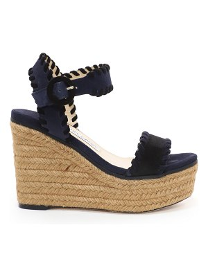 Jimmy Choo ABIGAIL 100 Black and Navy Mix Suede Chunky Wedges with Whipstitching