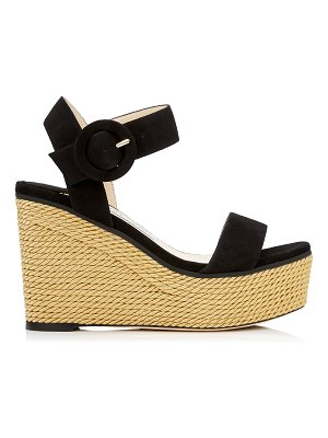Jimmy Choo ABIGAIL 100 Black Suede Chunky Wedge with Gold Rope