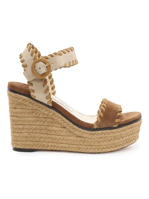 Jimmy Choo ABIGAIL 100 Natural Mix Suede Chunky Wedges with Whipstitching