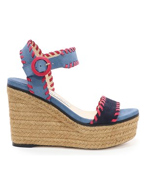 Jimmy Choo ABIGAIL 100 Navy and Raspberry Mix Suede Chunky Wedges with Whipstitching