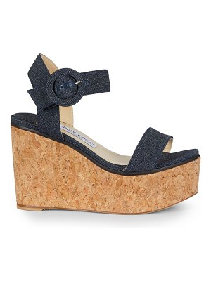 Jimmy Choo abigail denim cork wedge sandals