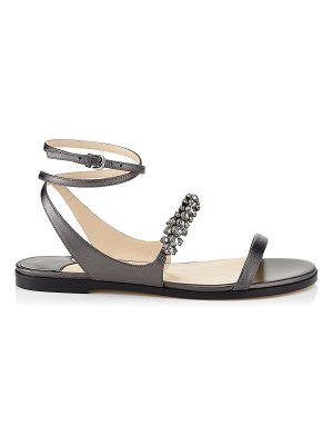 Jimmy Choo ABIRA FLAT Anthracite Metallic Nappa Leather Sandal with Crystal Detailing