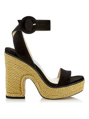 Jimmy Choo AIMEE 125 Black Suede and Gold Rope Wedge