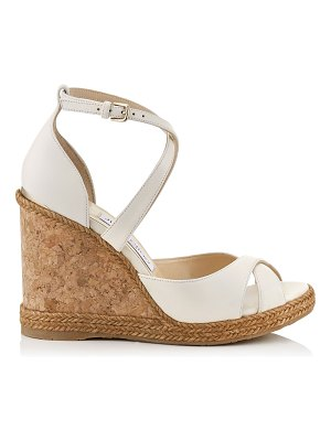 Jimmy Choo ALANAH 105 Chalk Nappa Leather Wedges with Braid Trim
