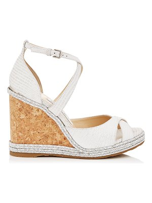 Jimmy Choo ALANAH 105 Latte Snake Embossed Leather Wedges with Braid Trim Wedge