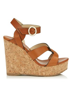 Jimmy Choo ALEILI 120 Cuoio Vachetta Leather Wedge with Buckle