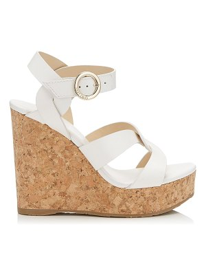 Jimmy Choo ALEILI 120 Latte Vachetta Wedge with Buckle