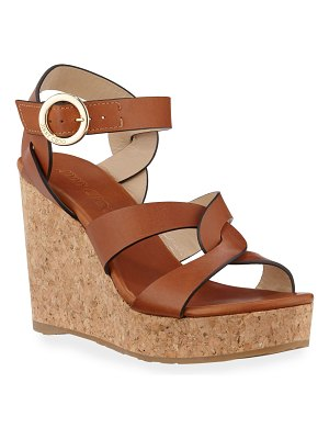 Jimmy Choo Aleili Vachetta Leather Cork Wedge Sandals