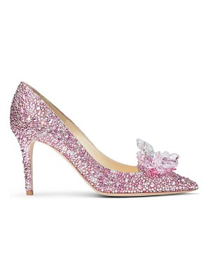 Jimmy Choo ALIA Rose Mix Suede and Crystal Covered Pointy Toe Pumps