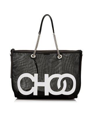 Jimmy Choo ALLEGRA Black Mesh Shoulder Bag with White Choo Logo