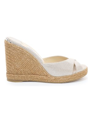 Jimmy Choo ALMER 105 Natural and Silver Metallic Linen Wedges with Braid Trim