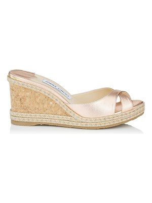 Jimmy Choo ALMER 80 Metallic Nappa Leather Wedges with Braid Trim Wedge