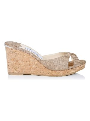 Jimmy Choo ALMER 80 Nude Printed Metallic Leather Mule Wedges