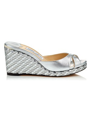 Jimmy Choo ALMER 80 Silver Metallic Nappa Leather Mule with Woven Metallic Fabric