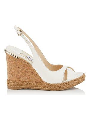 Jimmy Choo AMELY 105 Chalk Nappa Leather Wedges with Braid Trim