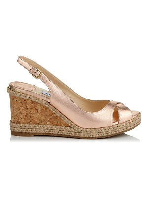 Jimmy Choo AMELY 80 Ballet Pink Metallic Nappa Leather Slingback Wedges with Metallic Braid Trim Wedge