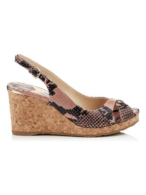 Jimmy Choo AMELY 80 Ballet Pink Printed Leather Wedge