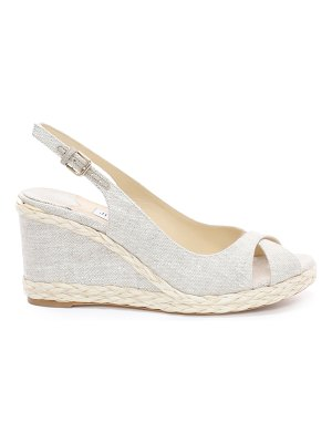 Jimmy Choo AMELY 80 Natural Linen Wedges with Braid Trim
